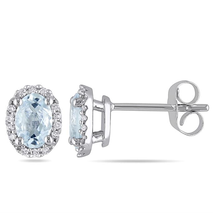 4f4060c16b6980 1/10 CT Diamond And 4/5 CT Aquamarine 10k White Gold Ear Pin Earrings -  March