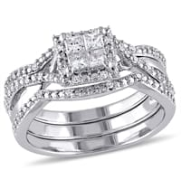 Picture of 1/2 CT Princess and Round Diamonds Bridal Set Silver Ring - 6