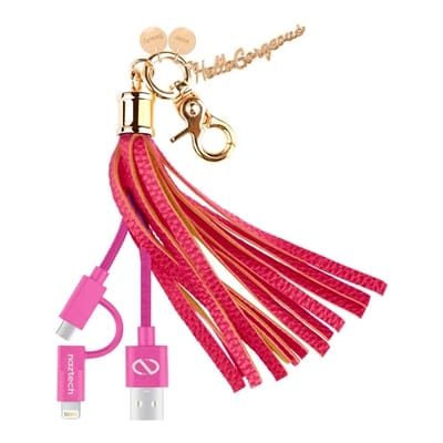 Picture of Hello Gorgeous Apple MFI / Micro USB Hybrid Cable Tassel Key Chain - Pink