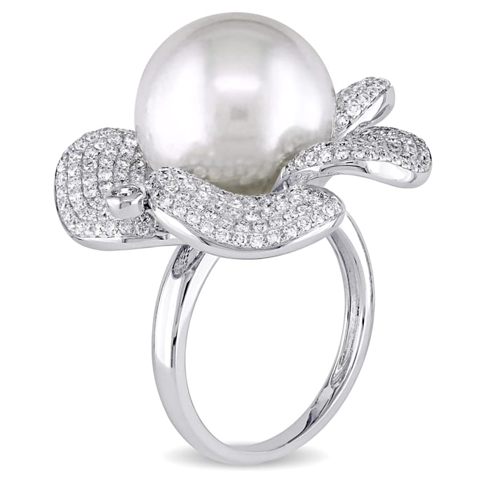 0b33cbdd9 14 - 14.5 mm South Sea Cultured Pearl and 1 3/4 CT TW Diamond Rosebud 14k White  Gold Cocktail Ring - Exceptional Boutique