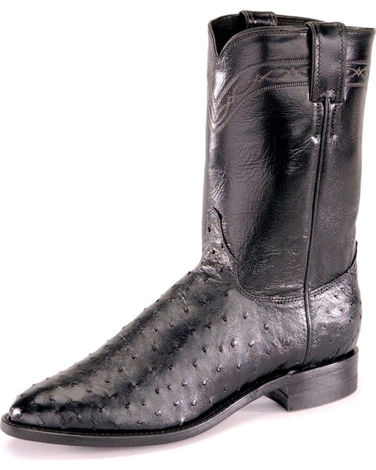 8c7f1454d17 Justin Western Boots - Men's Black Full Quill Ostrich Boots - 3171 ...