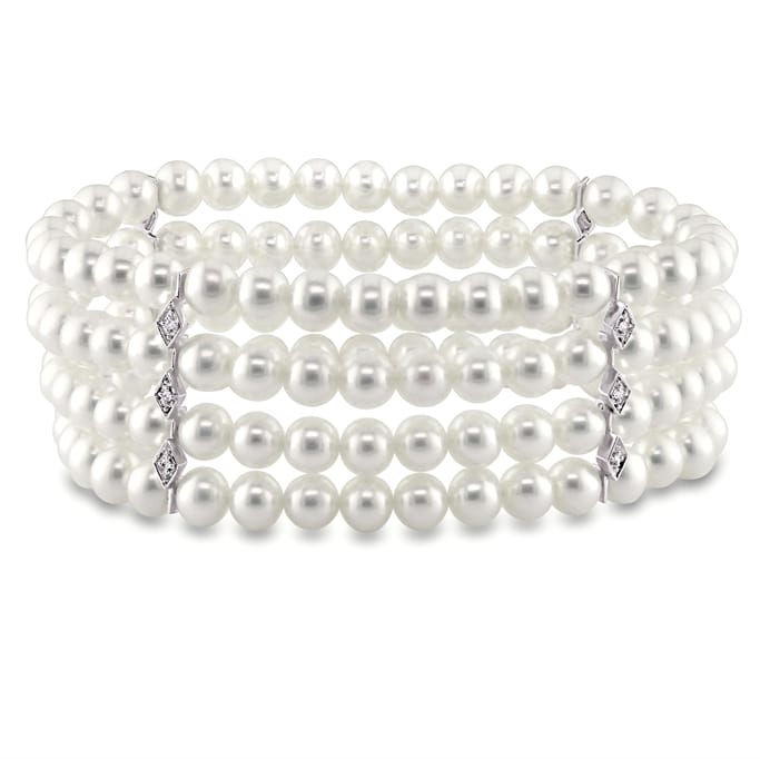 Sterling Silver Rhodium Plated 11mm-12mm White Freshwater Cultured Pearl Necklace and Bracelet Set